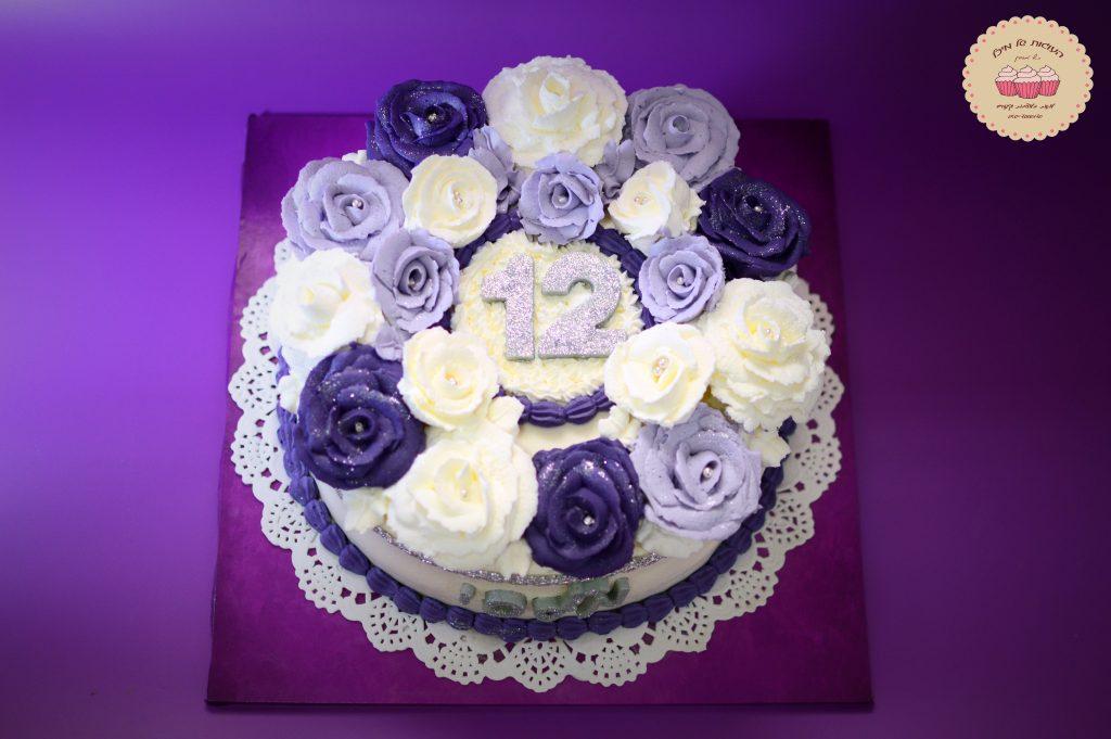 עוגת בת מצווה שושנים סגולות
